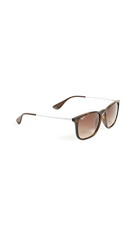 Ray-Ban Women's RB4187 Chris Square Sunglasses, Rubber Havana/Gradient Brown, One Size (Billig Ray Ban Style Sonnenbrille)