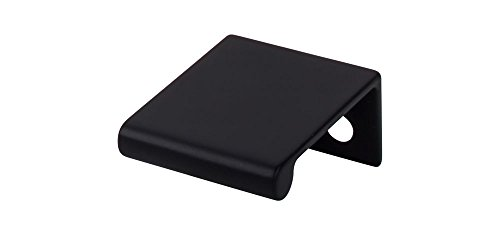 """Top Knobs TK500BLK Mercer Collection 1-1/4"""" Europa Tab Pull, Flat Black"""