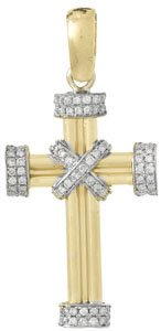 14k Yellow Gold Religious Charm Pendant, .40 Dwt Diamond Accented Cross with Double
