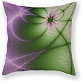 Customized Standard New Arrival Pillowcase Fractal Purple Green Swirls Throw Pillow 18 X 18 Square Cotton Linen Pillowcase Cover Cushion (Beaded Jacket Linen)
