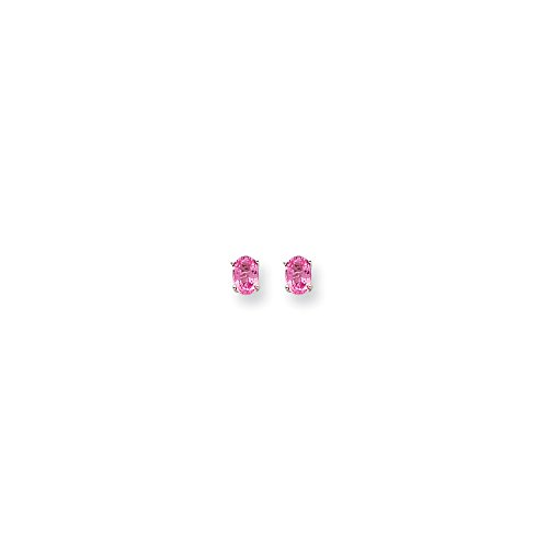 Perfect Jewelry Gift 14k White Gold Pink Sapphire Earrings