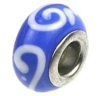 Lampwork Handmade Bead Big Hole Fit Bracelet Charm Blue White Scroll