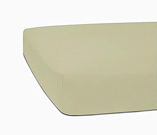 Bed Bath Fashions 350 Thread Count 100% Egyptian Cotton 1 Fitted Sheet Only, Full Size Fitted Sheet, Combed Pure Natural Cotton Sheet, Crisp & Cool Percale Weave (Full, Taupe) ()