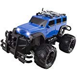 RC Truck Jeep Big Wheel Monster Remote Control Car with LED Headlights Ready to Run Includes Rechargeable Battery 1:16 Size Off-Road Beast Buggy Toy ()