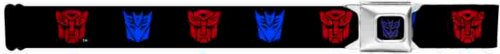 Buckle-Down Seatbelt Belt - Autobot/Decepticon Logos2 Repeat Black/Red/Blue (Navy Blue) - 1.5