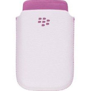 BlackBerry Torch 9800 White with Pink Accent Synthetic Leather Pocket (Torch Accent)