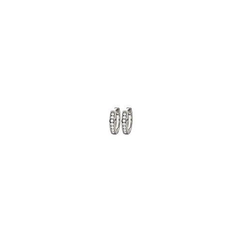 MARY JANE - Créoles Argent Femme/Homme - Diam:14mm / Larg:14mm - Argent 925/000 rhodié-Zirconium (Créoles / Rond)