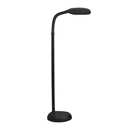 Balanced Spectrum Floor Lamp, Adjustable Gooseneck, Full Spectrum Natural Daylight Reading Light, 50 Tall, Black