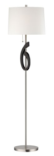 Lite Source LS-82155 Floor Lamp, Polished Steel with Off-White Fabric Shade, 61