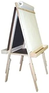 product image for Beka Adjustable Double-Sided Easel and Supplies Combo #3, Magnetic and Chalkboard Surfaces, Top Paper Holder, Wood Trays