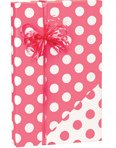 Reversible Polka Dot Coral Pink & White Gift Wrapping Paper Roll 15 Foot