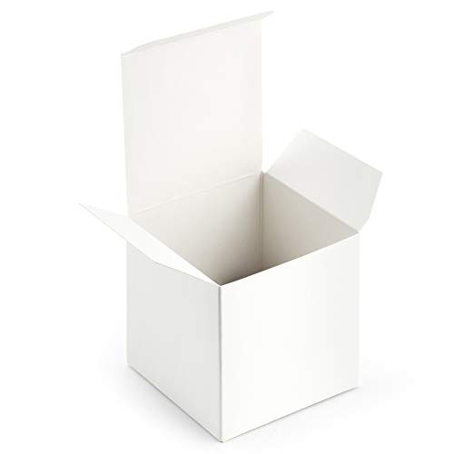 Gift Cube - ValBox 3x3x3 White Gift Boxes 50pcs Recycled Paper Cube Boxes with Lids for Gifts, Crafting, Cupcake Boxes | Easy Assemble Boxes with Reinforced Cardboard
