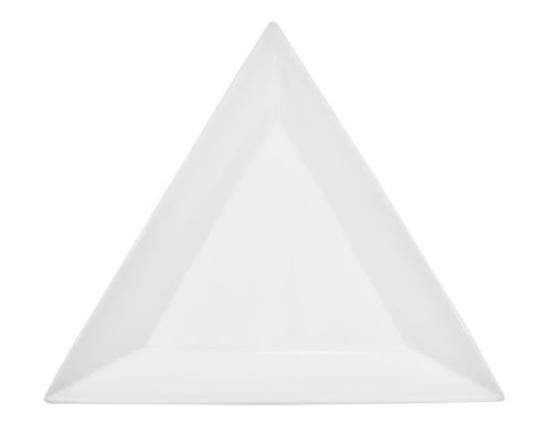 CAC China TUP-8 Triumph 8-Inch Super White Porcelain Triangular Plate, Box of 24 by CAC China