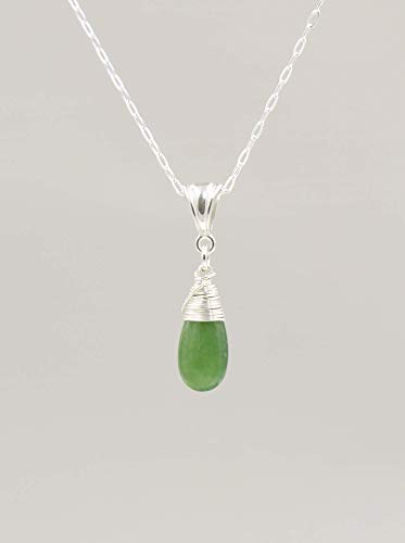 Green Serpentine Gemstone Necklace with Sterling Silver Chain - 18