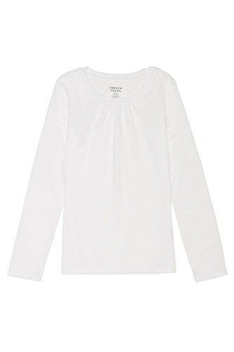 Price comparison product image French Toast Girls' Big Long Sleeve Crewneck Tee, White, M (7/8)