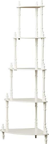 MIK Wood Corner Bookcase - 5 Tier Bookcase - White