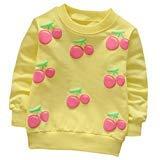 (Digood Toddler Baby Kids Girls Boys Spring Cherry Long Sleeve Soft Sweatshirt Tops T-Shirt Clothes (Yellow, 12-24 Months))