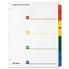 OneStep Printable Table of Contents, 4 Dividers, Quarterly, 8.5 x 11, Multicolor