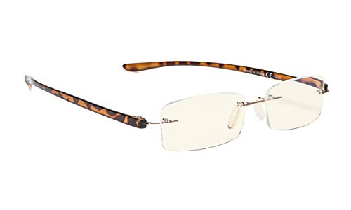 Blue Light Filter Rimless Computer Glasses Small Lens Women Men(Tortoise,+1.25)