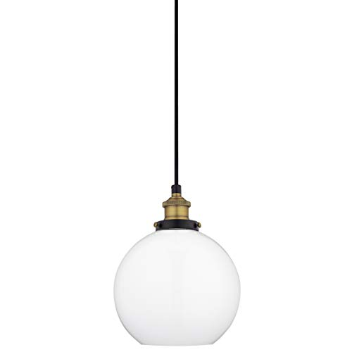Primo Milk Glass Kitchen Pendant Light - Antique Brass Hanging Fixture - Linea di Liara ()