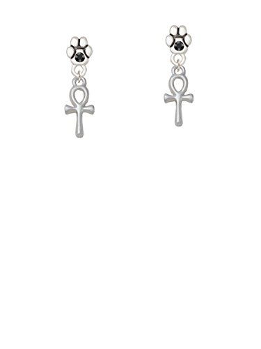 Small Ankh - Black Crystal Paw Earrings (Ankh Small Ring)