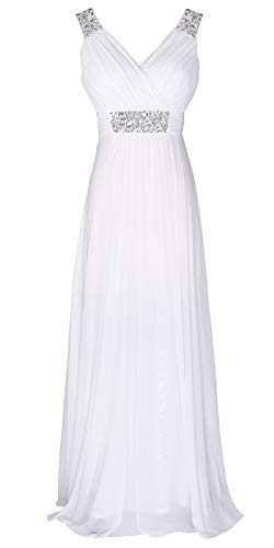 Conail Coco Women Ruched Waist Rhinestone Casual Tulle Semi-Formal Long Wedding Bridesmaid Dress (XXLarge, 44White)