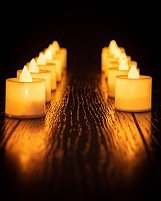 Flameless Realistic Candles Tea Lights LED Pack of 24 - With 72 EXTRA BATTERIES - Bright - Flickering - Powered Fake Candles - Unscented Tealights -Long Lasting Battery - CMR Technology - Cmr Led