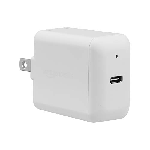 AmazonBasics 18W One-Port USB-C Wall Charger for Tablets and Phones with Power Delivery - White