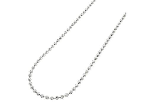 (925 Sterling Silver Moon Cut Bead Chain Necklace-Sterling Silver Bead Ball Chain Necklace, Silver Beaded Necklace in Rhodium andYellow Gold)
