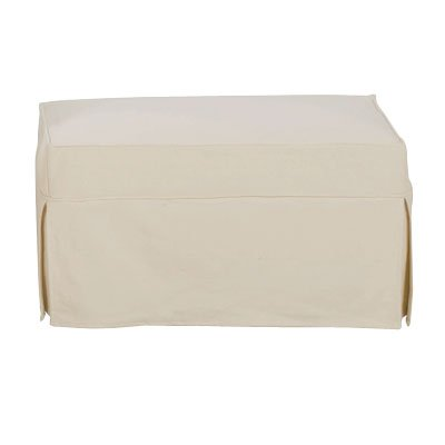 Christine Off White Twill Slipcovered Ottoman With Machine Washable Slipcover by Club Furniture