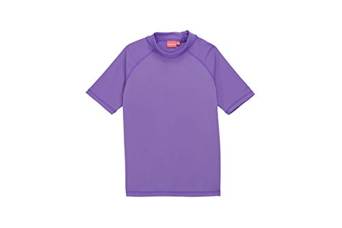 Remeetou Girls Short Sleeve UPF 50+ Sun Protection Swimwear Athletic Elastic Shirt Surfing Rash Guard Tops for 2-16 Years,Pink Violet Blue,2T ()