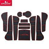 SMABEE Gate Slot mat for Audi A4 B8 2008~2015 RS4 S4 S line RS 4 2009 2010 2011 2012 2013 2014 Cup Holders Non-Slip mats Rubber Coaster Accessories Car Sticker 12Pcs (RED)