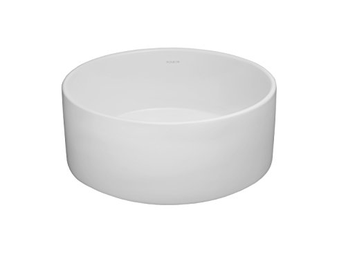 RONBOW Barrel 15 Inch Round Ceramic Vessel Bathroom Sink in White 200008-WH