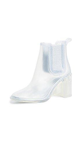 Jeffrey Campbell Women's Hurricane Rain Booties, Clear, 9 M (Jeffrey Campbell Rubber Boots)