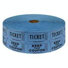Two (2) Rolls of Two-part Blue Double Roll Raffle Tickets Totaling 4,000 Tickets