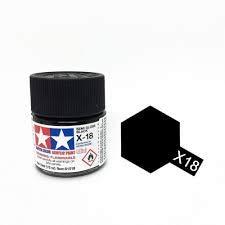 Tamiya 81518 X-18 Semi-Gloss Black Acrylic Mini - 10 ml / 0.33 Fl.Oz