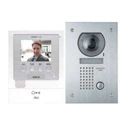 Aiphone JFS-2AEDF Audio/Video Intercom System with Flush-Mount Door Station with Stainless Steel Faceplate for Single Door, Accepts an Additional Door Station and Up to Two Sub-Master (Color Master Station)