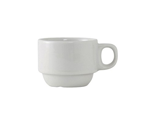 Tuxton ALF-0303 Vitrified China Alaska/Colorado Accessories Stackable Demitasse Cup, 3 oz, Porcelain White (Pack of 36),