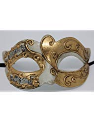 Mask & Co Mens or Women's Ivory & Gold Musical Notes/Script Venetian Masquerade Party Ball Eye