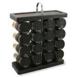 Spice Rack, Traditional, Holds 16, Black Flip-Top Lid, Filled