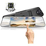 "JEEMAK Backup Camera 7"" Mirror Dash Cam Touch Screen 1080P Reversing Waterproof"