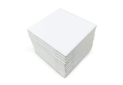 (Set of 12 Glossy White Ceramic Tiles For Arts & Crafts By Craftsman Stoneworks (4x4) )