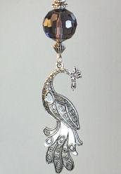 Purple Rhinestone and Faceted Glass with Silvery Metal Peacock Ceiling Fan Pull Chain
