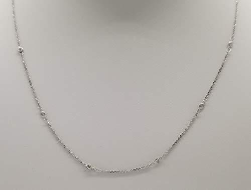 (Bezel Set Diamond by The Yard Chain Necklace, 14K Gold, 18