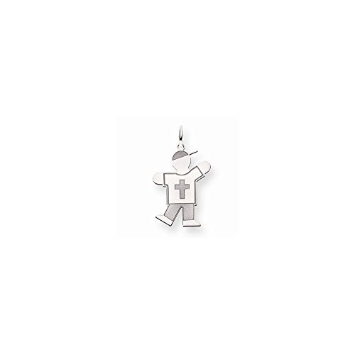 Mireval 14k White Gold Small Student Charm (15 x 25 mm)
