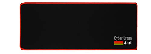 Extended Coverage Large Long Wide 27 X 12 Inches Mouse Pad - Silky Smooth Surface For Precise Mouse Movements - Anti Slip Rubber Base - Stitched Edges Long Last Mat (27x12, Red Edge)