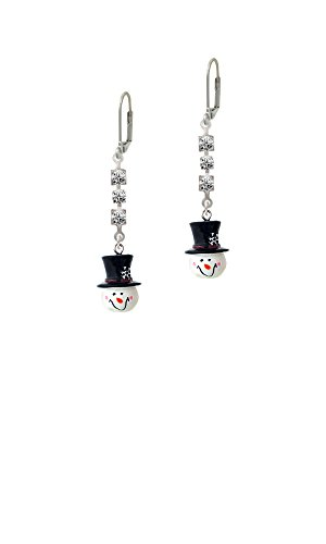 Resin Snowman Head with Top Hat - Crystal Madison Leverback Earrings