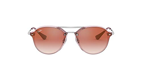 Ray-Ban Junior Kid's RJ9067SN Double Bridge Kids Sunglasses, Transparent Pink/Red Gradient Mirror, 53 mm (Kids Sunglasses Mirror)