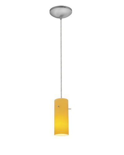 Cylinder Glass Pendant - 1-Light Pendant - Cord - Fluorescent - Brushed Steel Finish - Amber Glass - Mini Pendant Fluorescent Amber