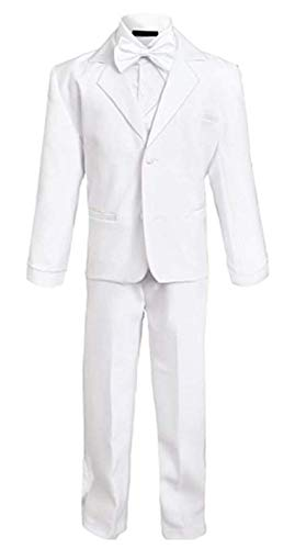 Rafael Boys Tuxedo with Vest, Shirt, and Bow Tie - White, Size 8]()